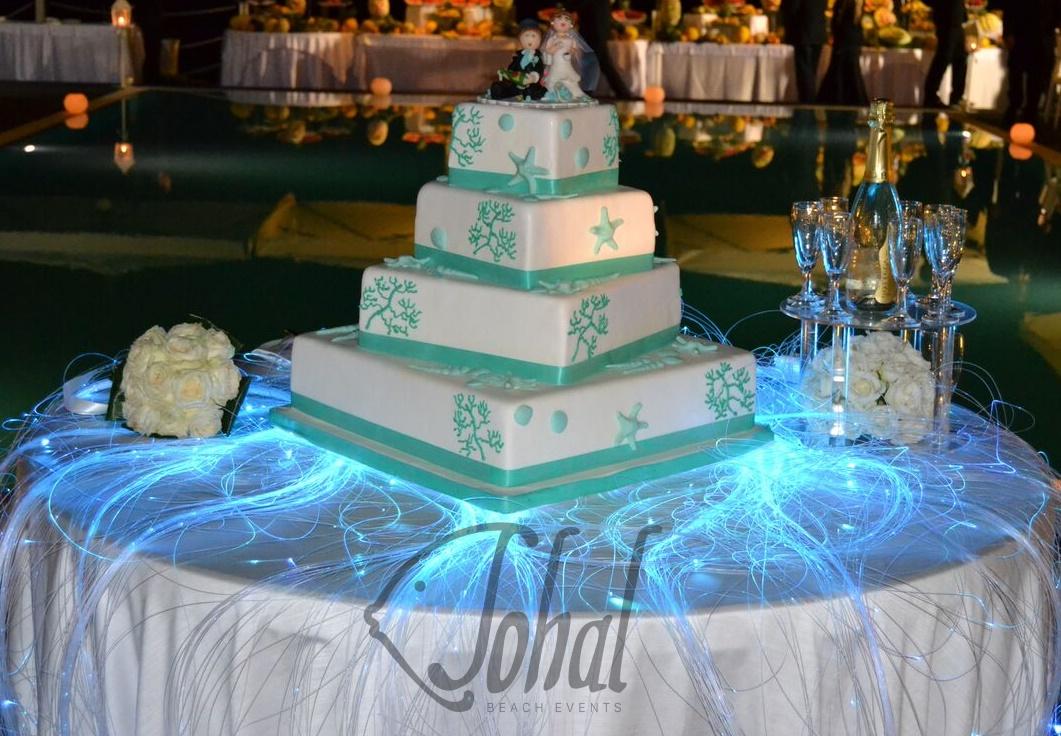 Favoloso Torta nuziale tema marino con fili luminosi in fibra ottica - Sohal YT89